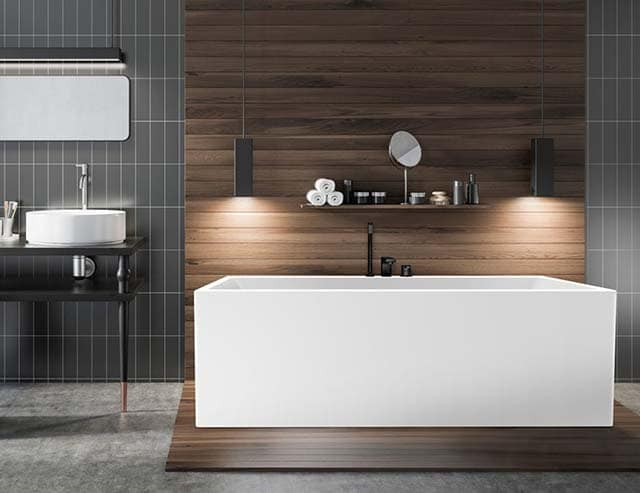 Gray and wooden luxury bathroom