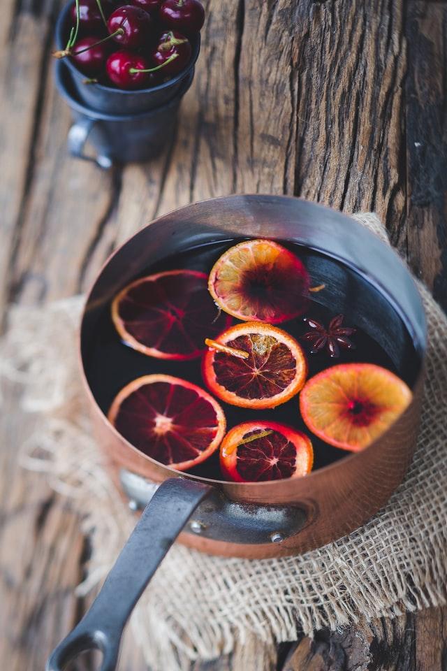 Gløgg med appelsinskiver